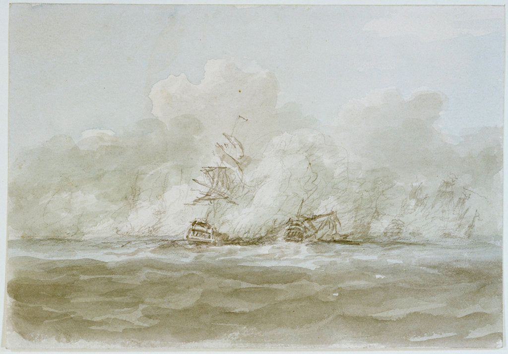 Detail of The Battle of the Glorious First of June, 1794; the 'Defence' (?) and 'Le Vengeur' by Nicholas Pocock