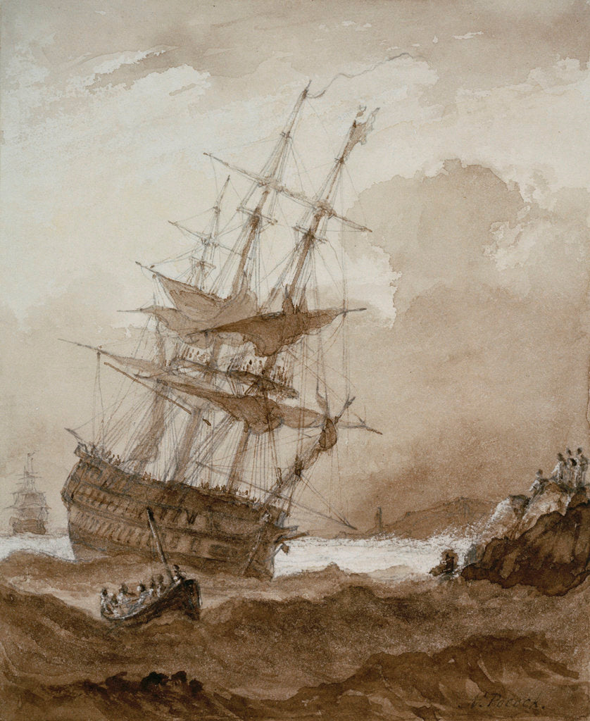 Two-decker in a gale off shore by Nicholas Pocock