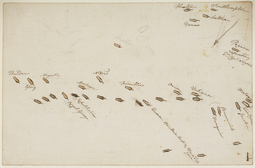 Detail of The Battle of the Glorious First of June, 1794; plan of the action by Nicholas Pocock
