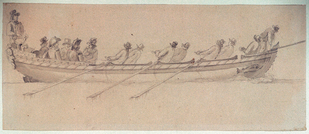 A naval barge with eight oarsmen by Nicholas Pocock