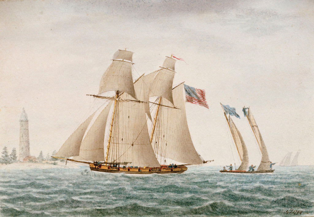 Detail of American schooner 'Thetis' in 1794 - Coast of Virginia by G. T.