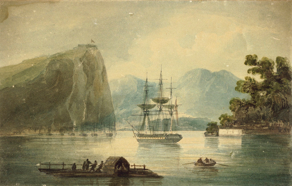 Detail of HMS 'Spartan' at Quebec, Heights of Abraham, E.R Brenton Feat 1818 by Edward Pelham Brenton