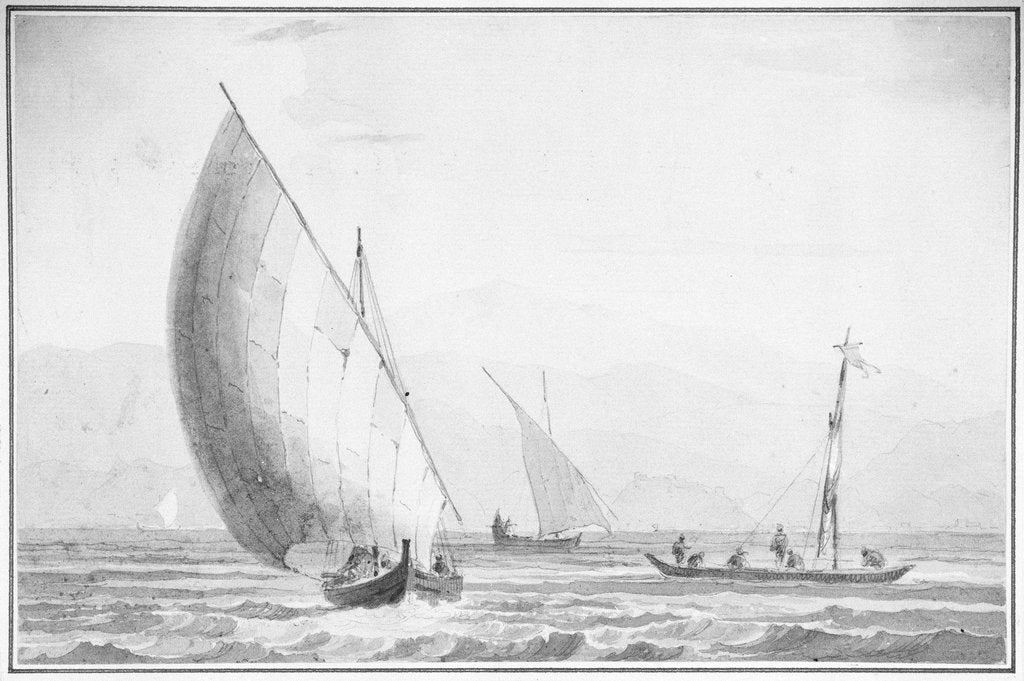 Detail of Indian sailing boats by Thomas Daniell
