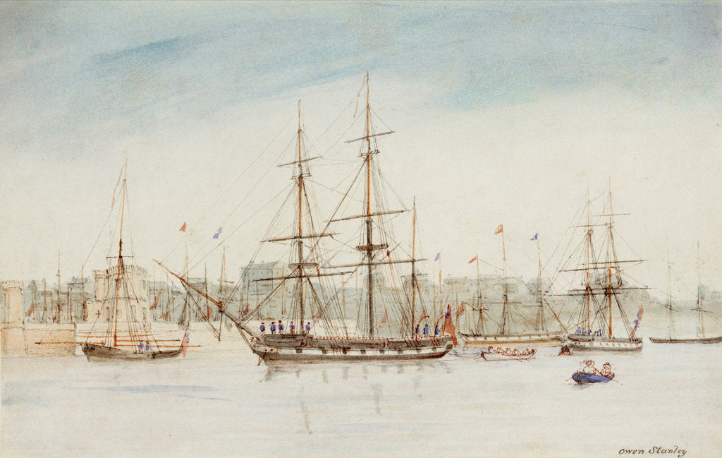 Detail of The survey ship HMS 'Beagle' in Sydney harbour by Owen Stanley