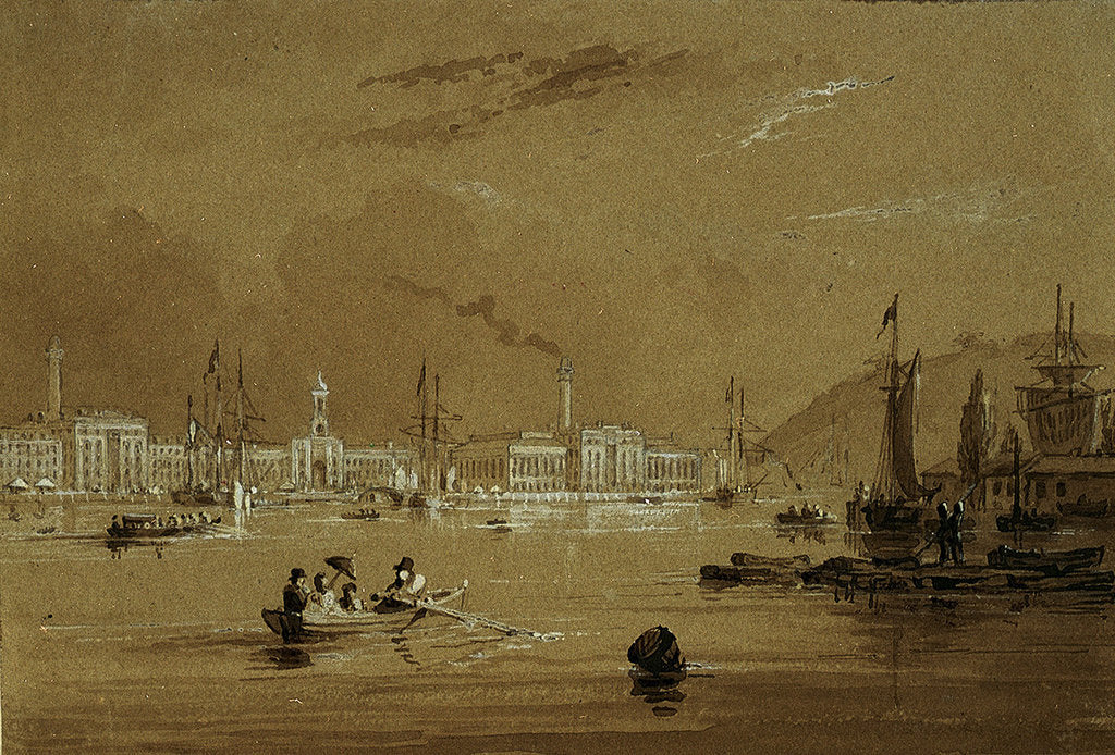 Detail of The Victualling Office, from Richmond Walk, Devonport by Nicholas Matthew Condy