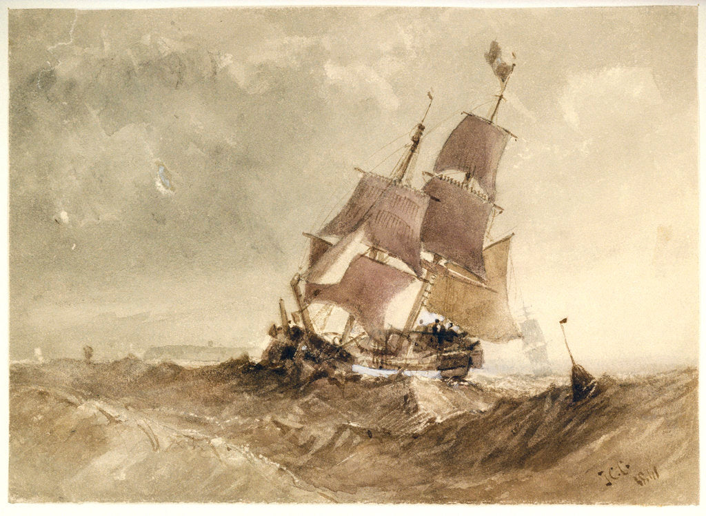 Detail of A brig in a sea with a distant coast by James Chrisholme Gooden