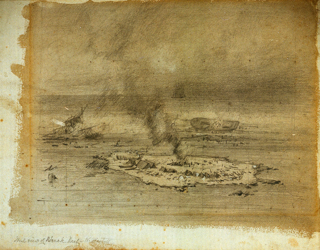 Detail of Study for a painting of wreck reef by William Westall