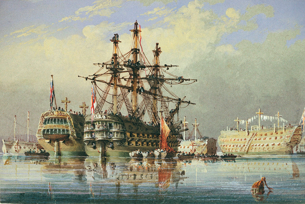 Detail of Ships in ordinary at Devonport by Nicholas Matthew Condy