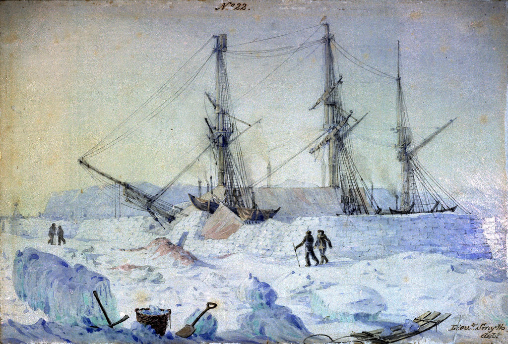 Detail of No.22 is a view of the Port side of the ship with an effect of sunrise in February 1837 and shewing the state of the snow walls at that time by William Smyth