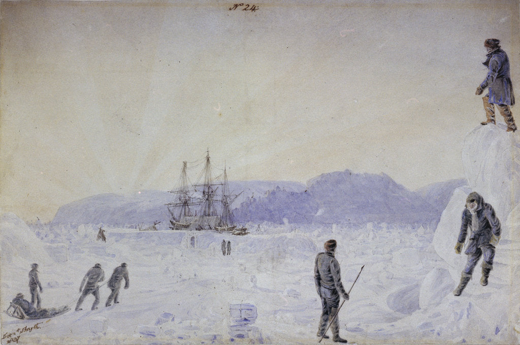 Detail of No.24 View of HMS Terror surrounded by snow walls and part of Southampton Island with an effect of sunrise, Jan 1837 by William Smyth