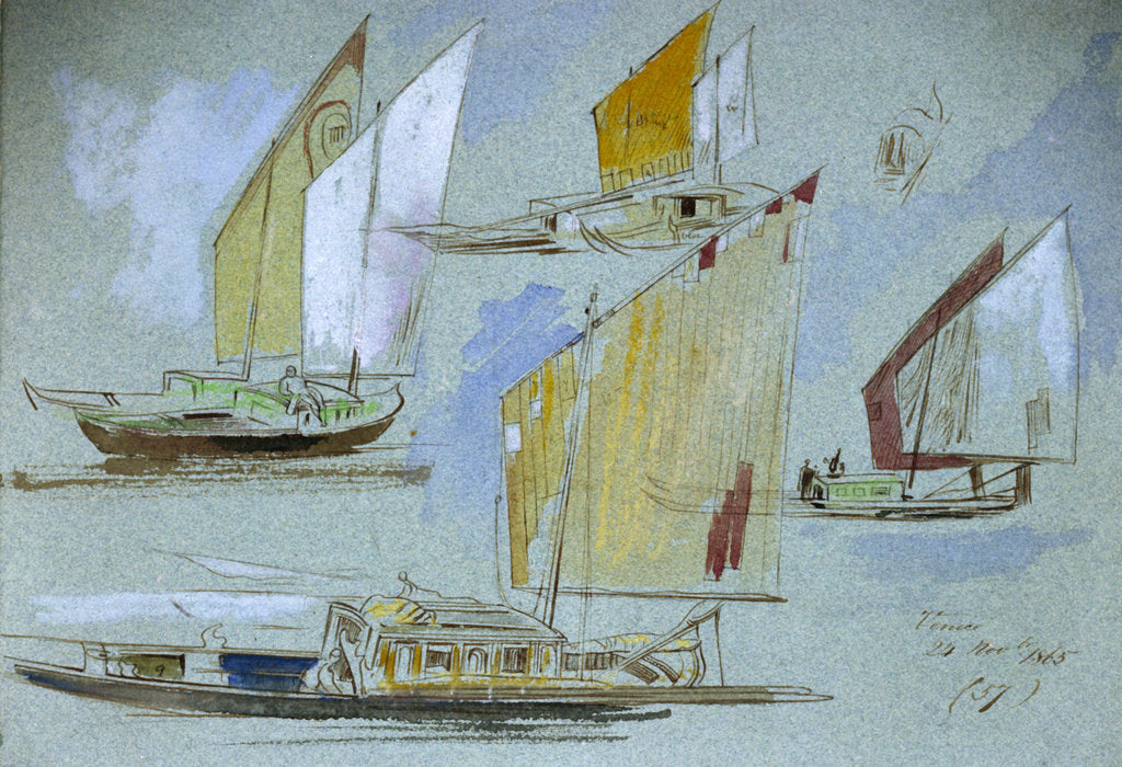 Detail of Studies of Venetian craft by Edward Lear