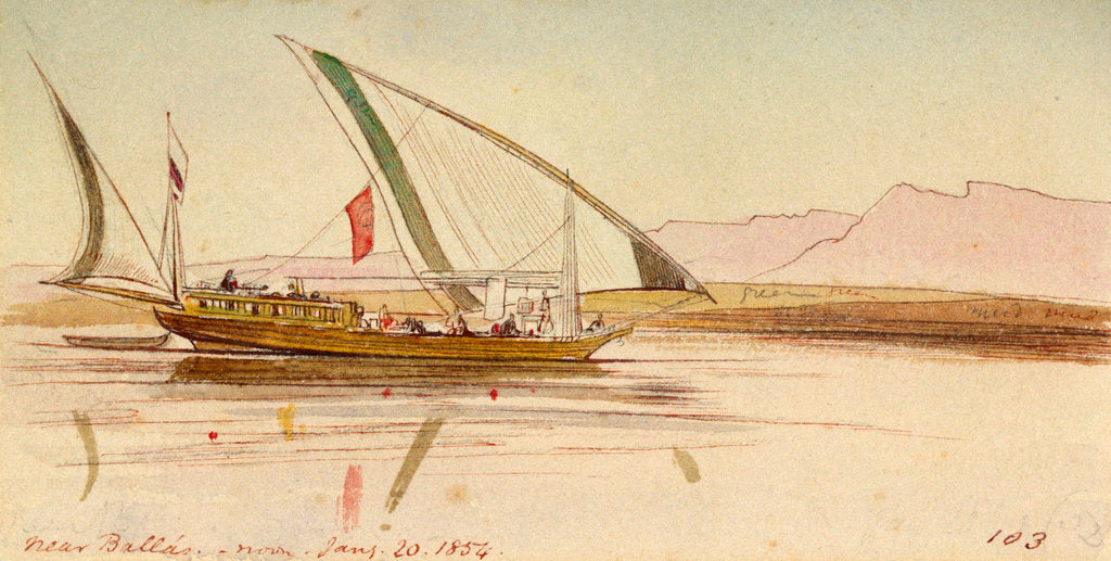 Detail of On the Nile near Ballas, Egypt by Edward Lear