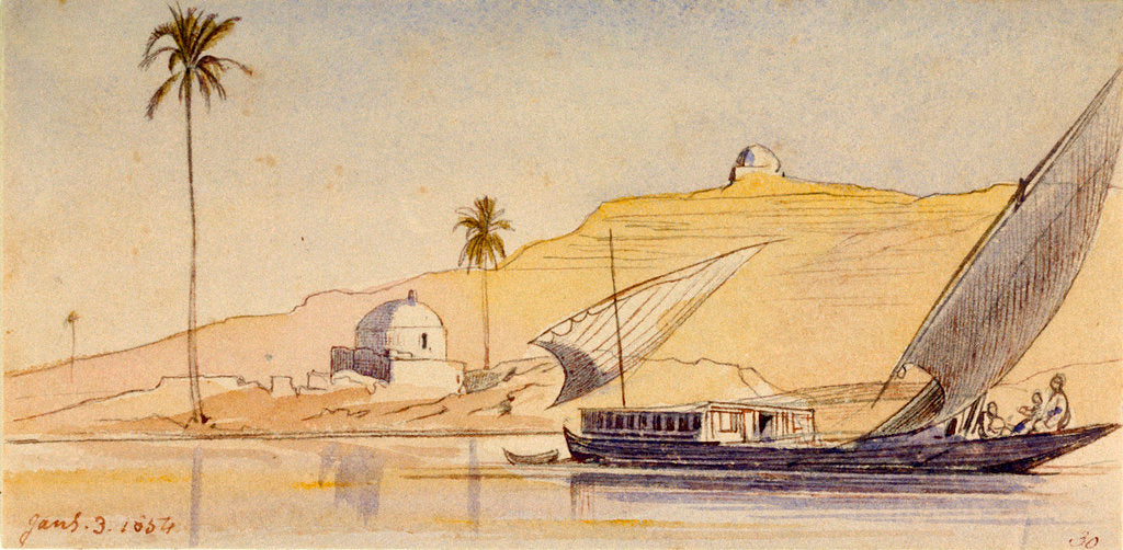 Detail of A large lateen-rigged vessel passing along the Nile by Edward Lear