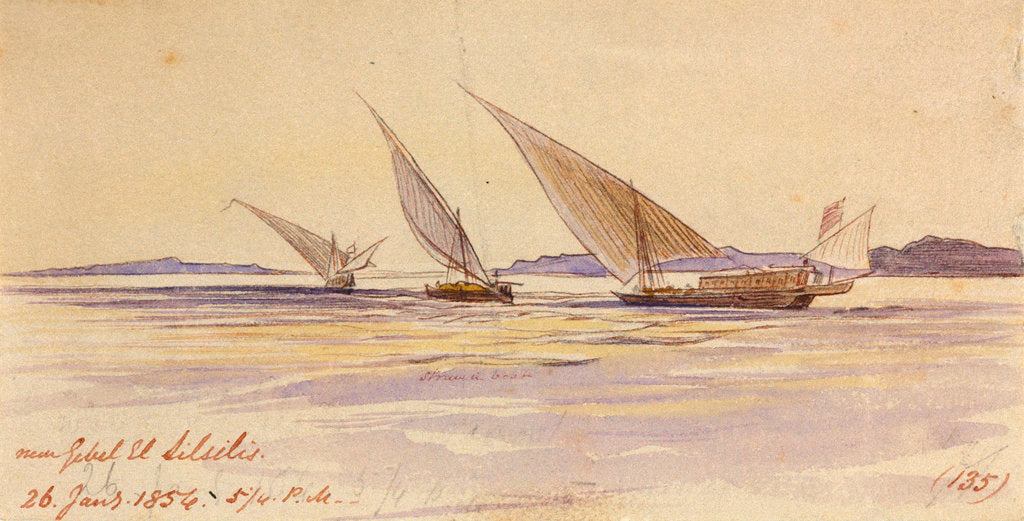 Detail of Near Gebel El Silsilis, Egypt by Edward Lear