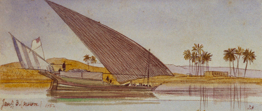 Detail of The banks of the Nile with a large gyassi passing by by Edward Lear