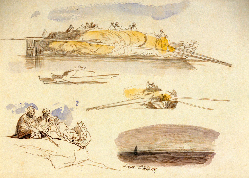 Detail of Five sketches of Luxor, Egypt by Edward Lear
