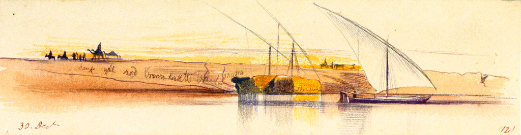 Detail of The banks of the Nile with three gyassis by Edward Lear