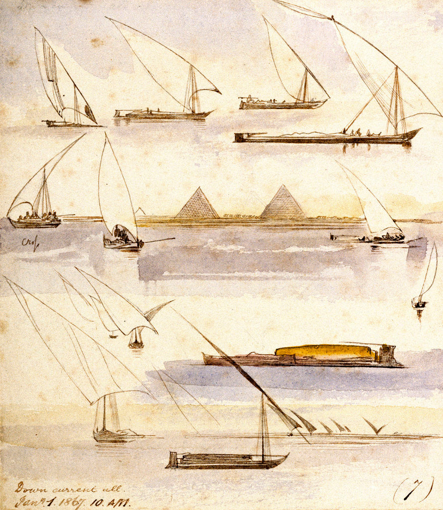 Detail of Studies of various Egyptian craft by Edward Lear