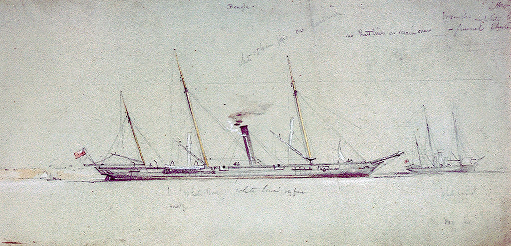 Detail of HMS 'Beagle' and 'Wrangler' by Oswald Walter Brierly