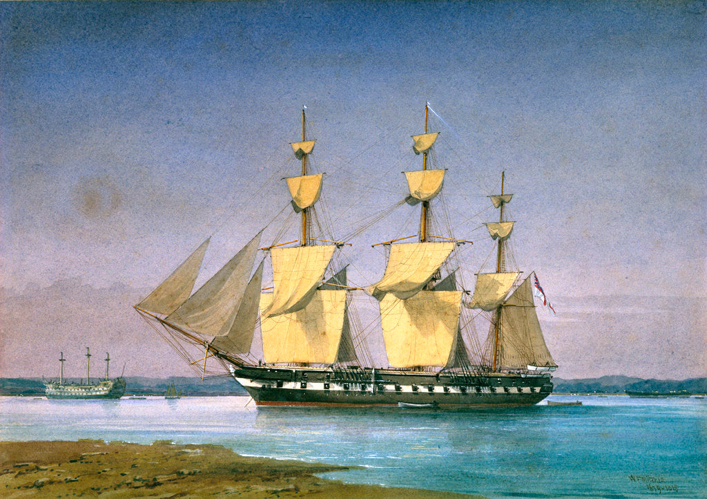 Detail of HMS 'Forte' at anchor, no.1018 by William Frederick Mitchell