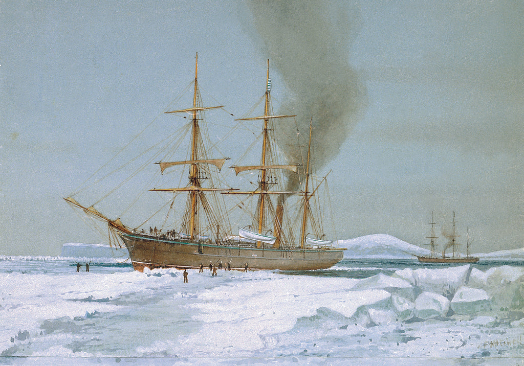 Detail of HMS 'Discovery' forcing a passage through the ice by William Frederick Mitchell