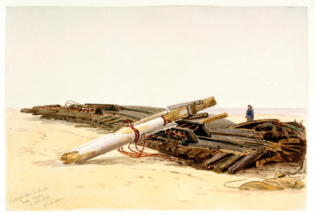 Detail of Wreck of the 'Ellen Southard' lying on Crosby Sands, 11 October 1875 by G.S. Walters