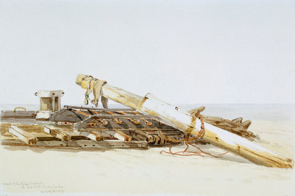 Detail of Wreck of the Ellen Southard lying on Crosby Sands, 13 October 1875 by G.S. Walters