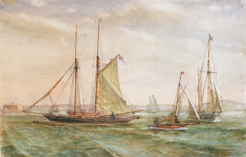 Detail of Yachts off Southsea 1895 by E.P. Bedwell