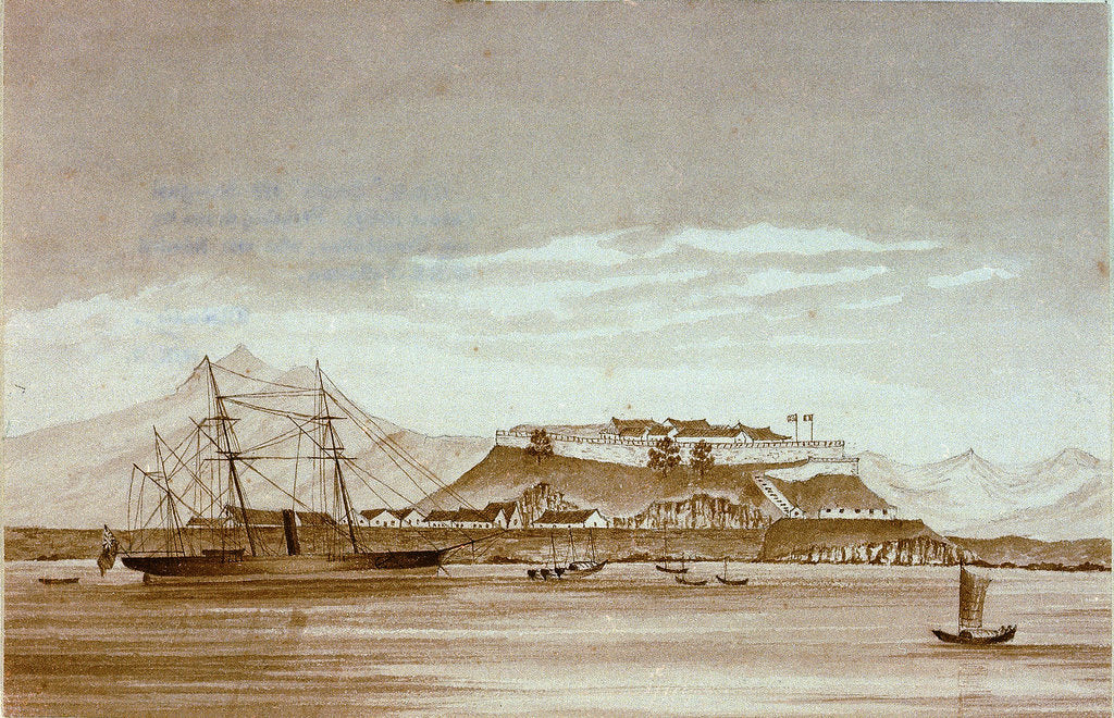 Detail of HMS 'Snake' off Shanghai (about 1859). Not Shanghai perhaps mouth of Yangtse by J.R.E. Pattison