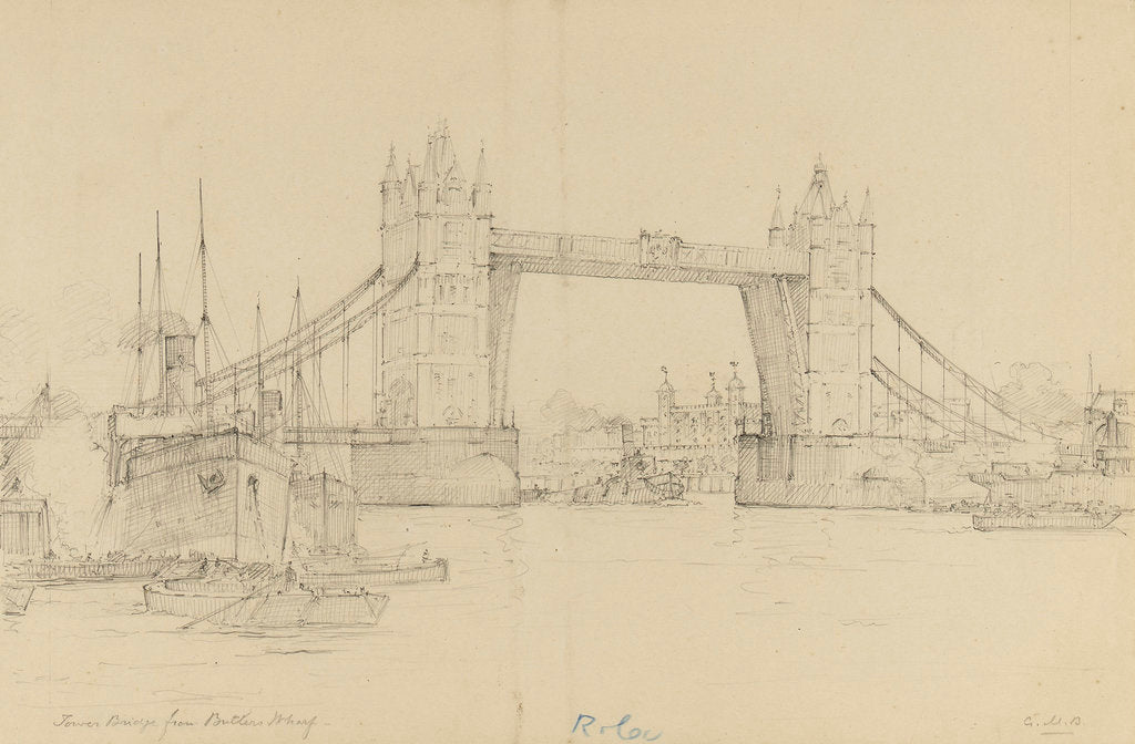 Detail of Tower Bridge from Butler's Wharf by Gerald M. Burn