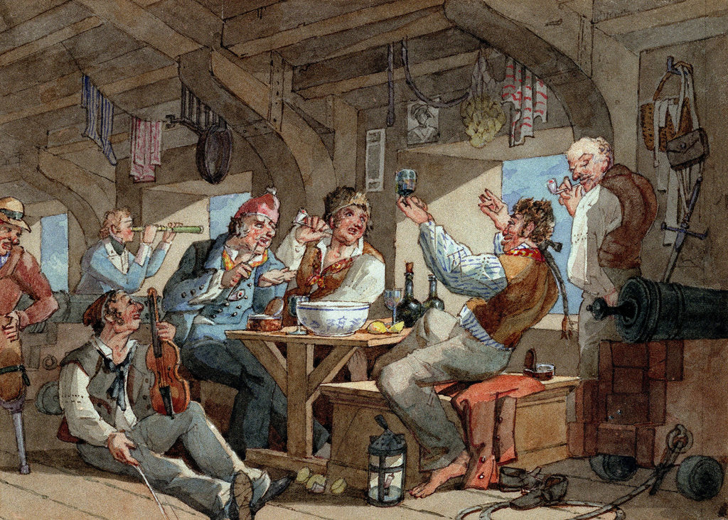 Detail of Shipmates carousing on shipboard by William Henry Pyne