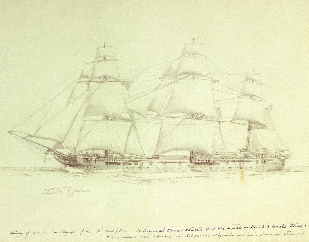 Detail of Study of HMS 'Amethyst' with notes about sail plan by William Lionel Wyllie