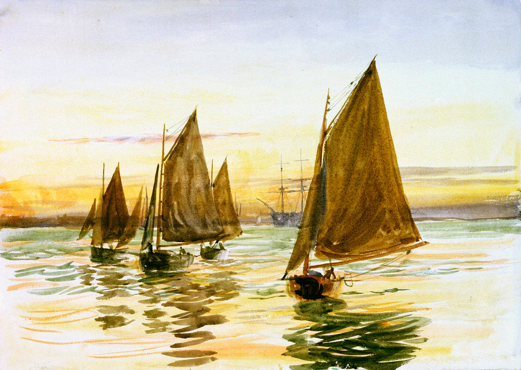 Detail of Small gaff-rigged cutters at sunset by William Lionel Wyllie