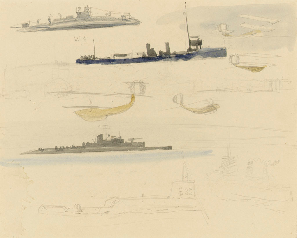 Detail of Rough sketches of fighting vessels and sea planes, 1914-1918 by William Lionel Wyllie