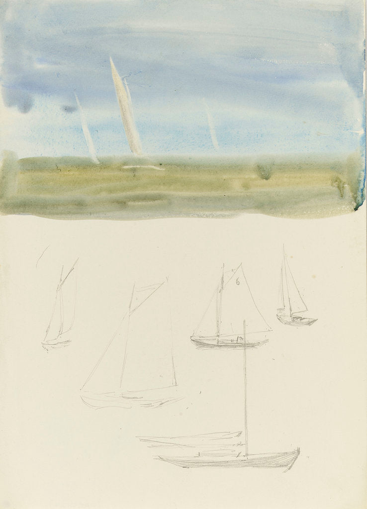 Three yachts at sea in the hazy distance with graphite sketches of yachts below by William Lionel Wyllie