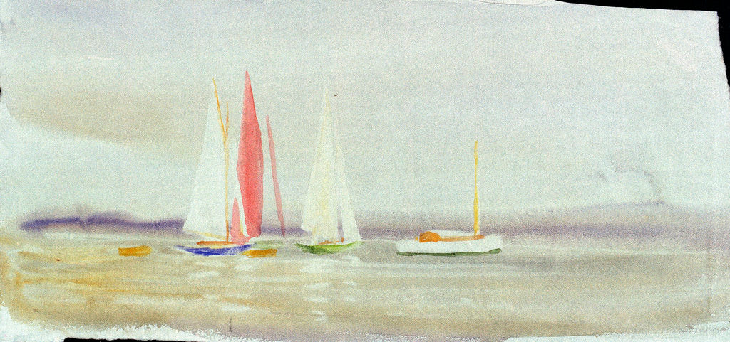 Detail of Three yachts and a cabin cruiser by William Lionel Wyllie