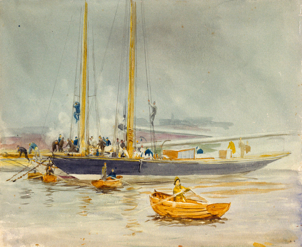 Detail of Study of a yacht by William Lionel Wyllie