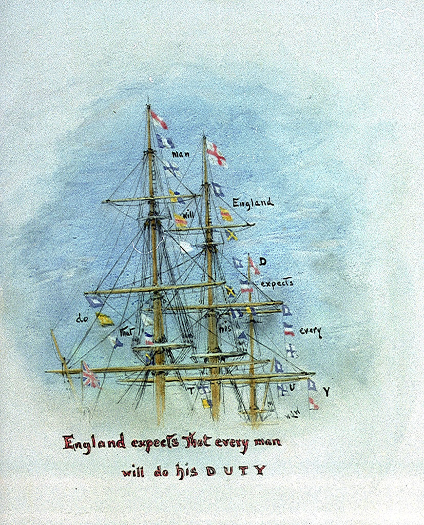 Detail of Three masts and rigging showing the flag signal 'England expects that every man will do his duty', annotated by William Lionel Wyllie