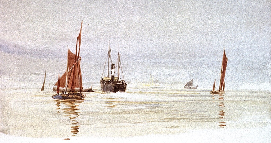 Detail of Sailing barges and a steamer, with a power station in the distance by William Lionel Wyllie