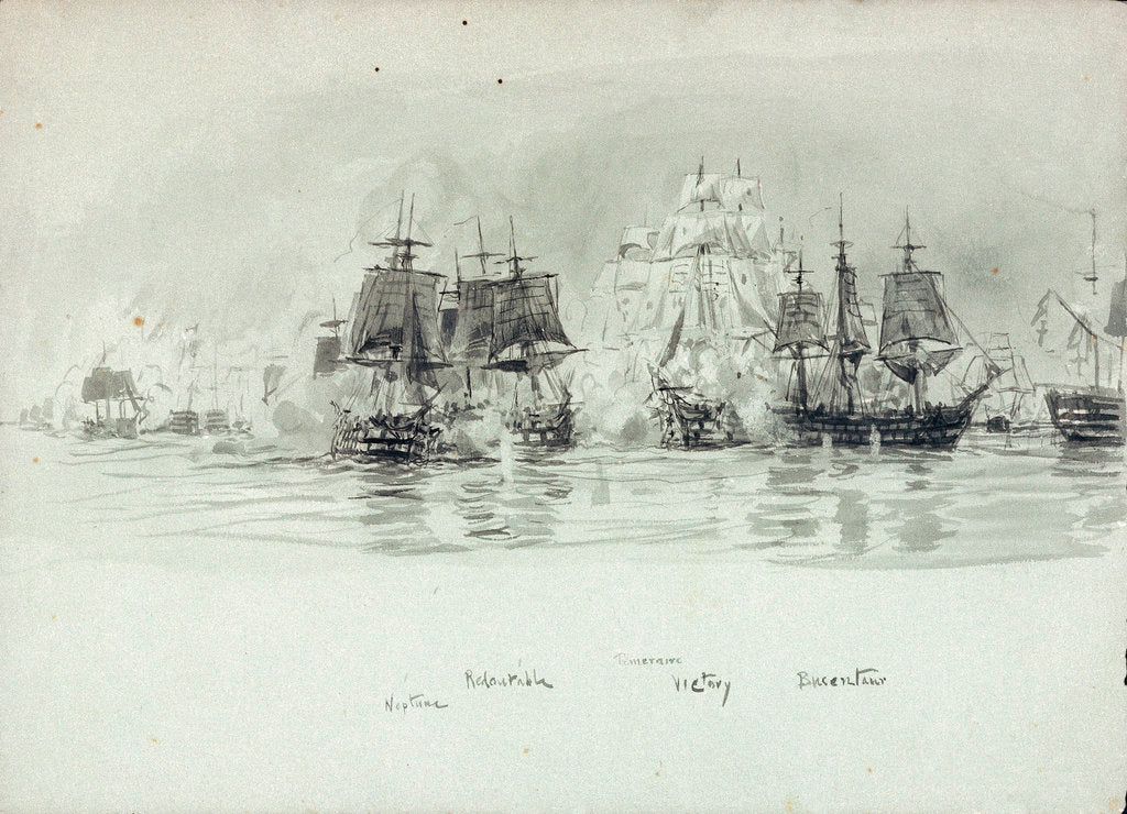 Detail of Named vessels at the Battle of Trafalgar 1805 by William Lionel Wyllie