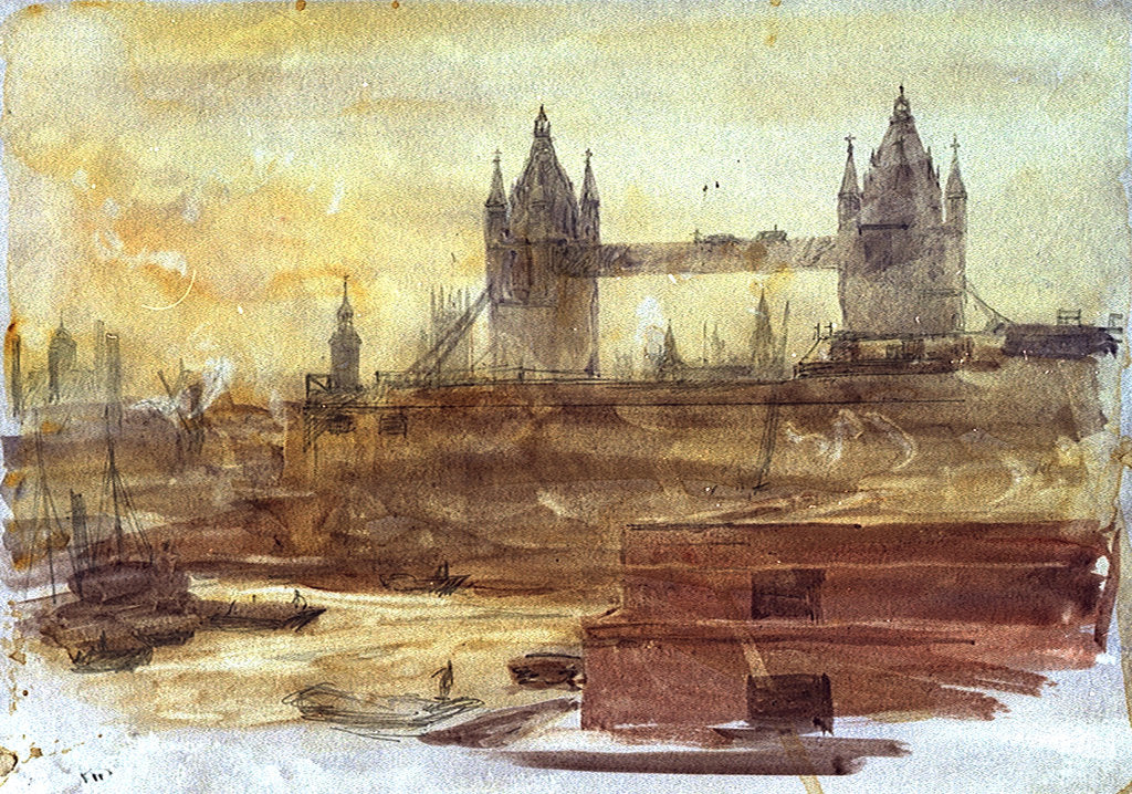 Detail of Tower Bridge by William Lionel Wyllie