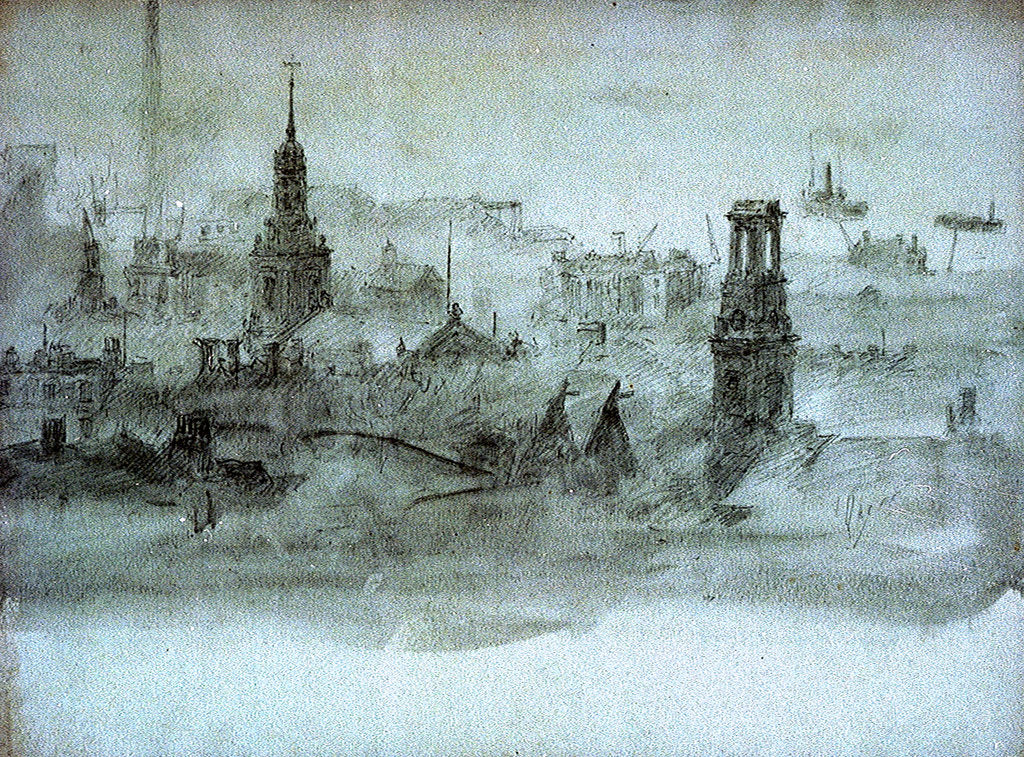 Detail of Spires and chimneys by William Lionel Wyllie
