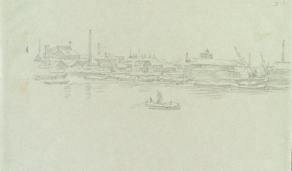 Detail of Greenwich or Rotherhithe, possibly in snow by William Lionel Wyllie