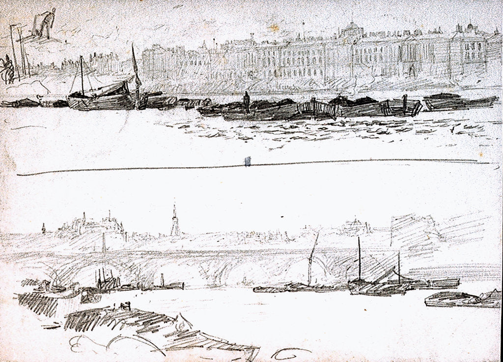 Detail of Somerset House and London Bridge by William Lionel Wyllie