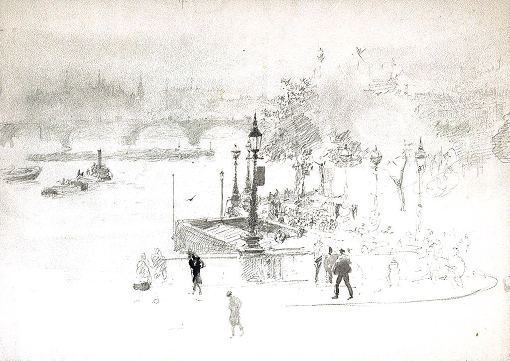 Detail of Thames Embankment by William Lionel Wyllie