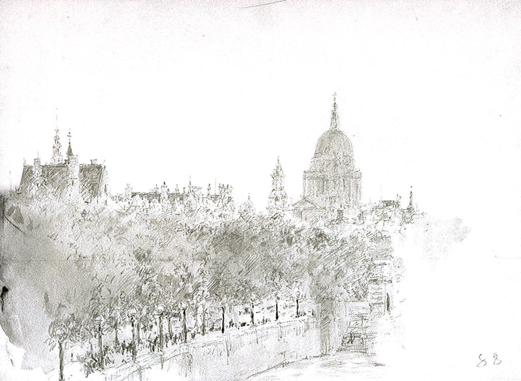Detail of Sketch of St Paul's Cathedral from the Embankment, London by William Lionel Wyllie
