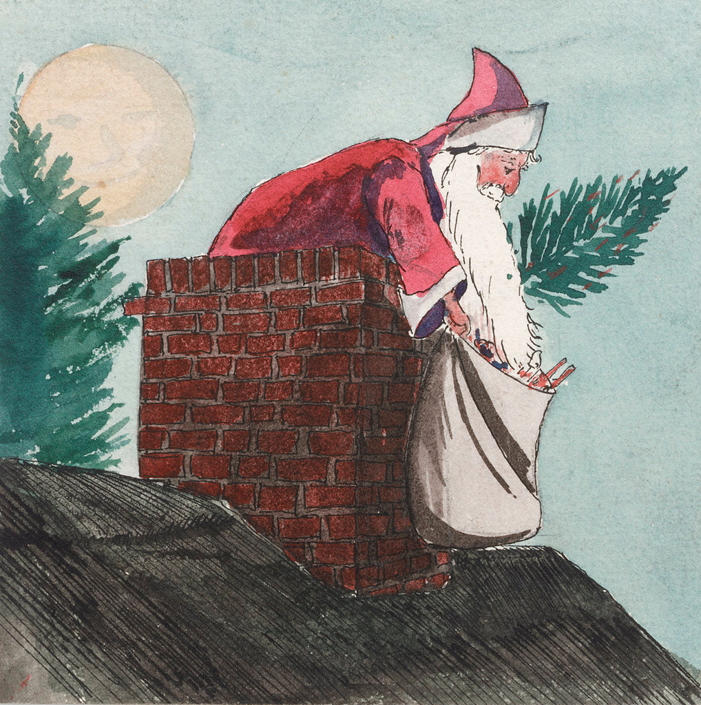 Detail of Father Christmas going down the chimney by William Lionel Wyllie