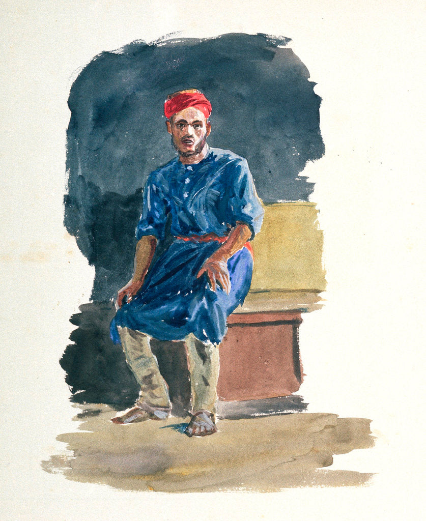 Detail of Study of a seated man in North African dress by William Lionel Wyllie