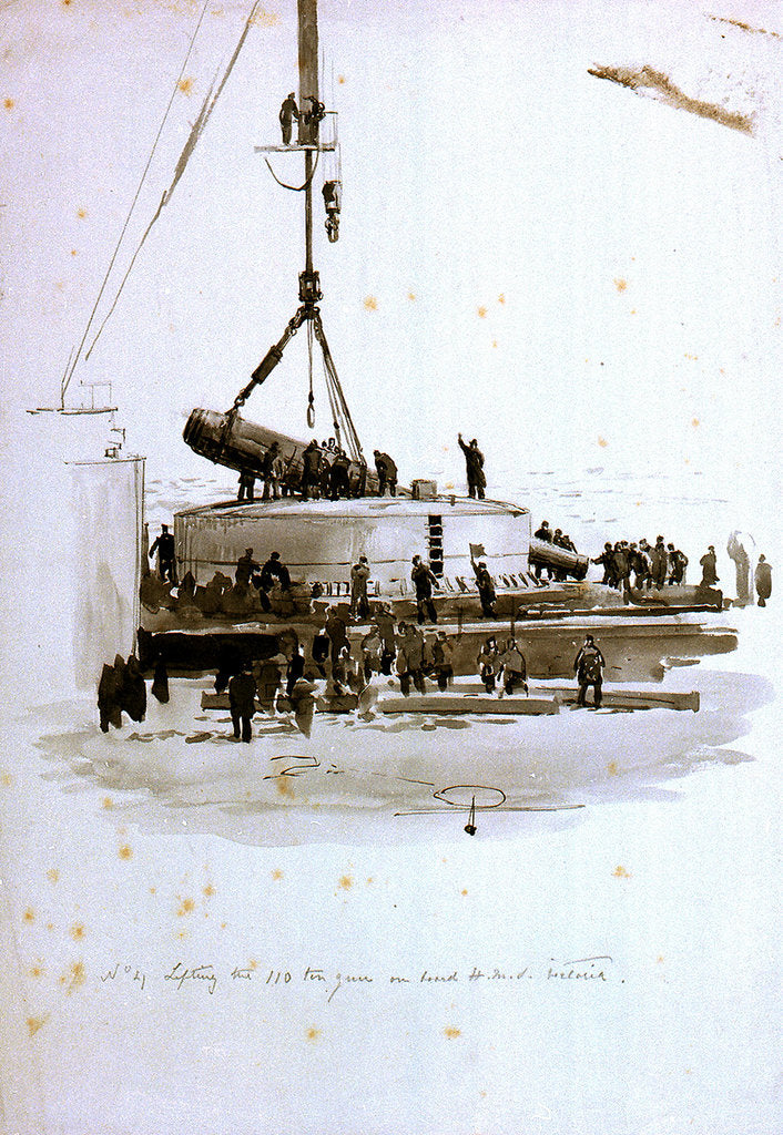 Detail of No 4 Lifting the 110 ton gun on board HMS 'Victoria' by William Lionel Wyllie