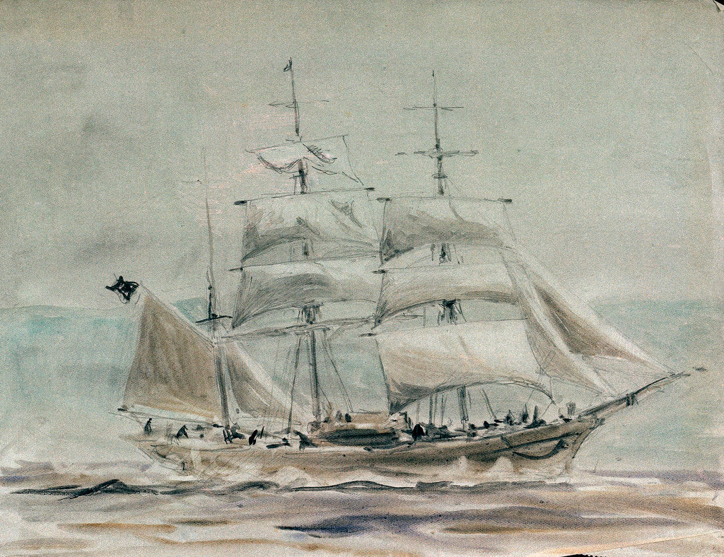Detail of Barque under sail by William Lionel Wyllie